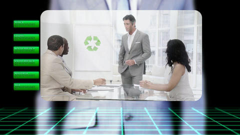 Businessman activating videos about green business Animation