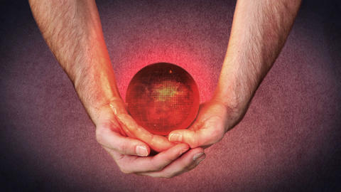 Masculine hands holding a 3d planet globe with vid Stock Video Footage