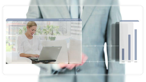 Businessman dragging videos about technology Stock Video Footage