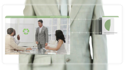 Businessman dragging videos about ecology Stock Video Footage