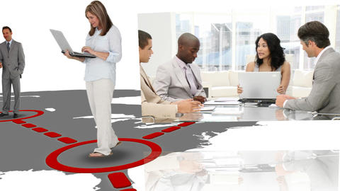 Business people appearing in a network Animation