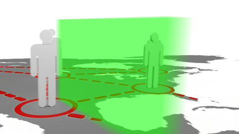 3d silhouettes appearing on a map Stock Video Footage