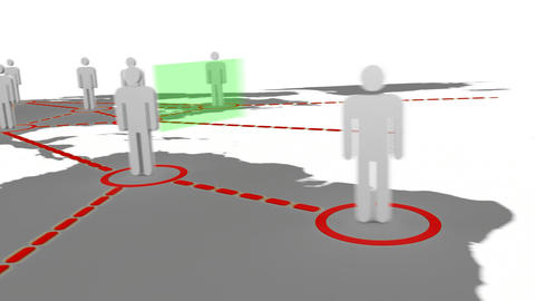 3d silhouettes appearing on a map Animation