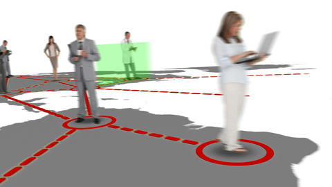 Workers on a map forming a network Animation
