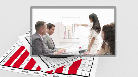 Business videos appearing with diagram in the background Animation