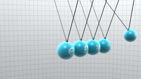 Newton pendulum with different currencies on it Animation