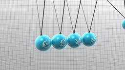 Newton pendulum with different currencies on it Stock Video Footage