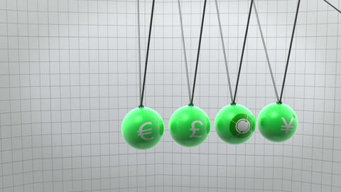 Green newton pendulum with different currencies on Animation