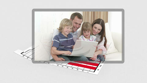 Family videos appearing with diagram behind them Stock Video Footage