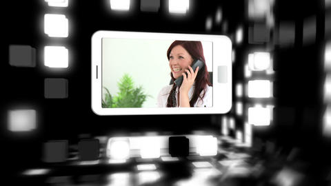 Animated smart phones showing business people Animation