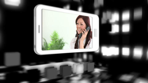 Animated smart phones showing business people Stock Video Footage