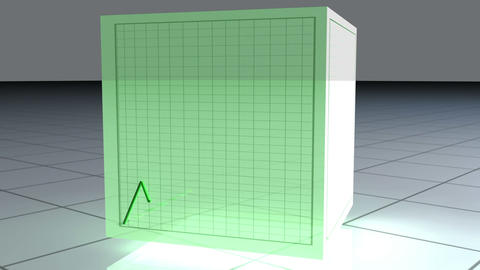 Turning green cube with animated graphics Animation