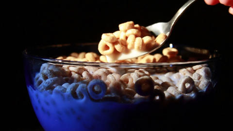 0133 Eating Cereal with Spoon Stock Video Footage