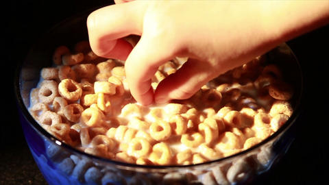 0140 Eating Cereal with Spoon Stock Video Footage