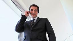 Businessman using headset Footage