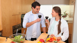 Couple holding wine glasses Stock Video Footage