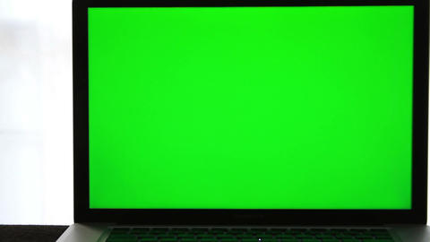 Laptop Green Screen stock footage