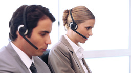 Call centre agents working in their office Footage