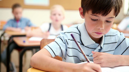 Thoughtful pupil working Stock Video Footage