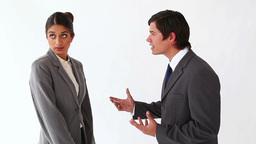 Businessman talking to her secretary Footage