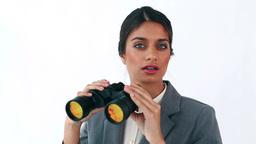 Secretary looking through binoculars Footage