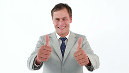 Businessman placing his thumbs up Stock Video Footage