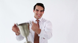 Smiling man holding his cup Stock Video Footage