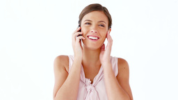 Happy woman using a mobile phone Footage