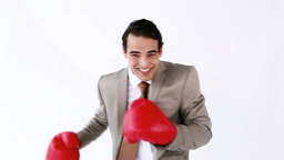 Happy executive boxing Stock Video Footage