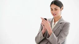 Businesswoman sending a text message Footage