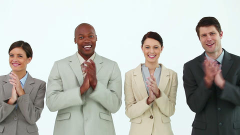 Business people clapping Stock Video Footage