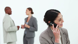 Black hair businesswoman on the phone Live Action