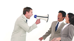 Man shouting through a megaphone at his coworkers Stock Video Footage