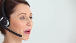 Woman using a headset Stock Video Footage