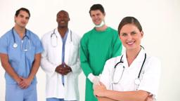 Hospital team posing together Footage