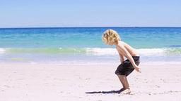 Blonde child doing handstands Footage