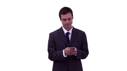 Businessman reading a text message before looking Stock Video Footage