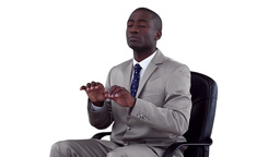Well dressed businessman typing on a virtual keybo Stock Video Footage
