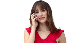 Woman looking ahead while talking on a phone Stock Video Footage