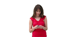 Woman looking around her while holding her phone Stock Video Footage