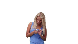 Blonde woman reading a text message Live Action