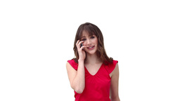 Woman smiling while talking on her mobile phone Stock Video Footage