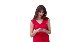 Woman writing a text message before looking upward Stock Video Footage