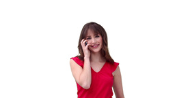 Woman happily making a phone call Stock Video Footage