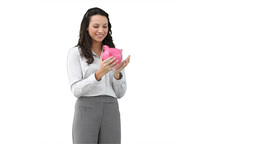 Business woman holding a piggybank Footage