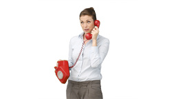 Business woman using a telephone Footage