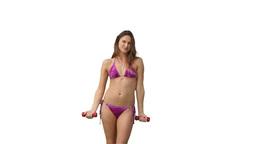 Woman exercising in her bikini Footage