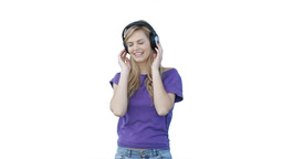 Woman listening to headphones Stock Video Footage