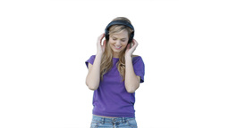 Woman listening to headphones Footage