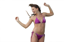 Woman in a bikini with her hat Stock Video Footage